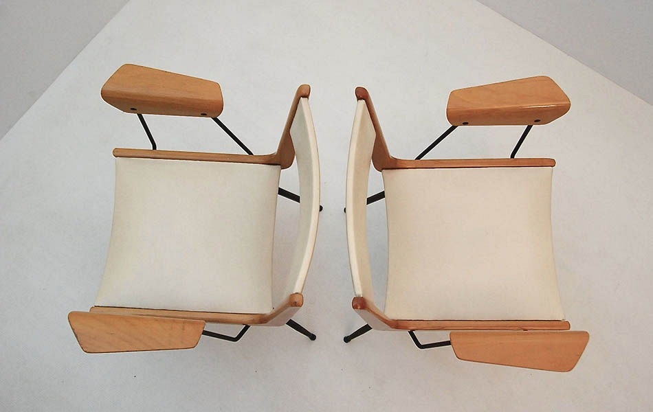 CARLO RATTI PAIR OF ARMCHAIRS