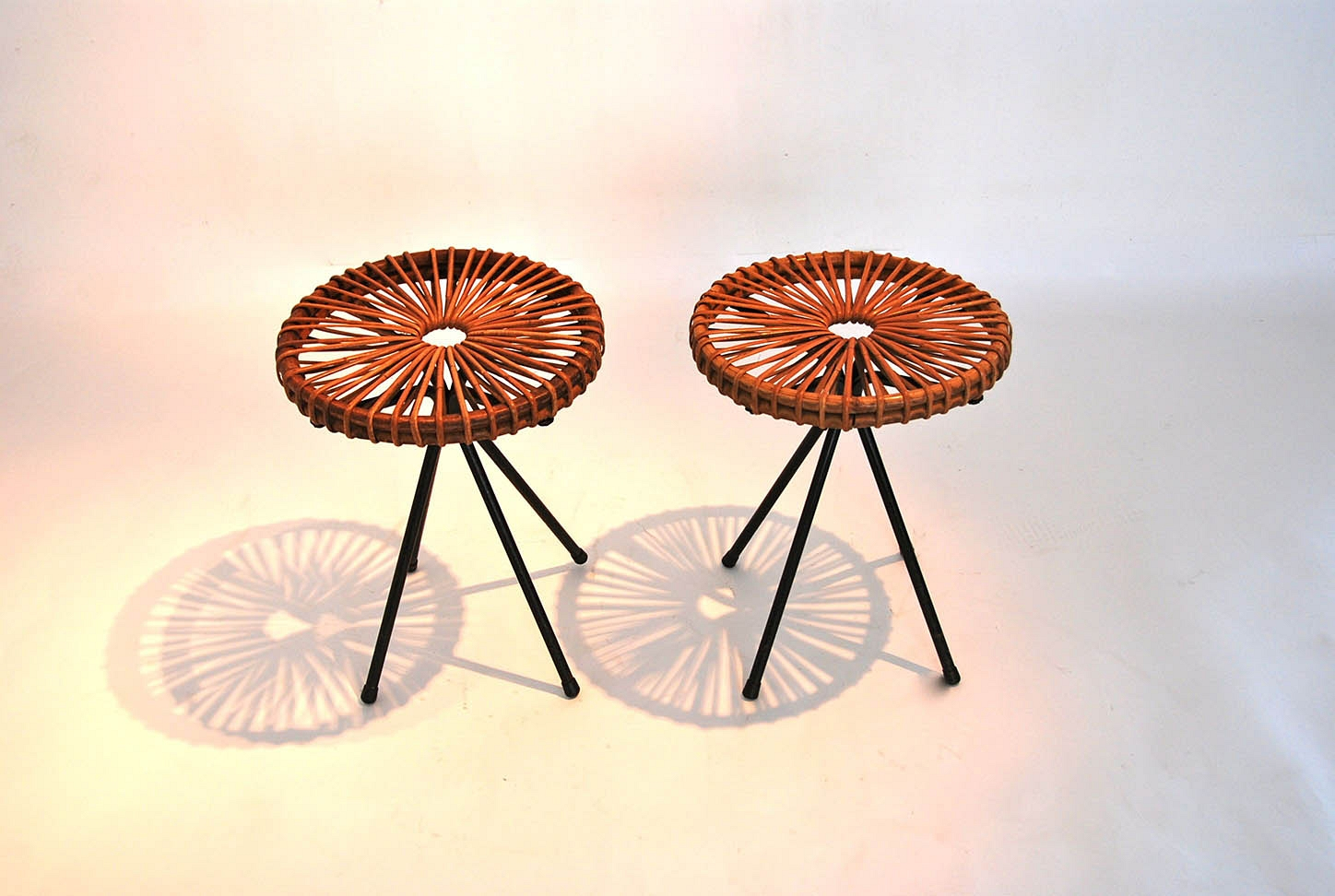 pair of Stools in whicker
