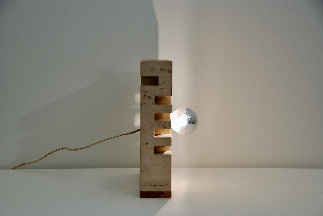 Travertin table lamp