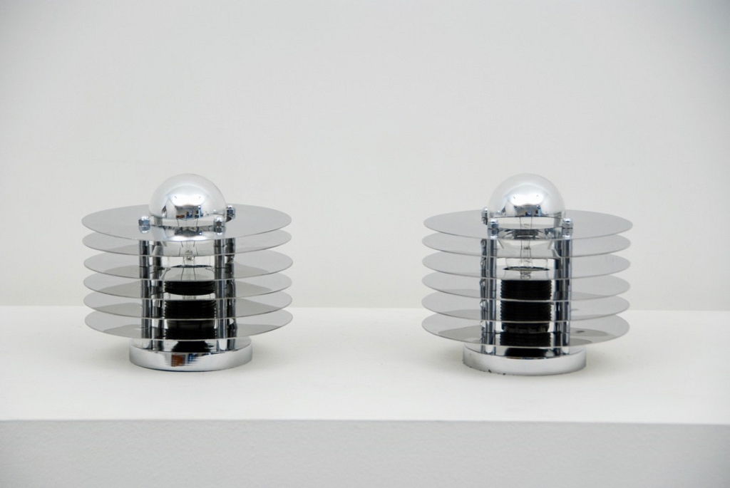 pair chrome table lamp